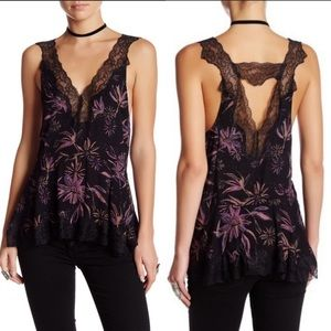 Free People Bell Flower Black Combo Lace Tank Top
